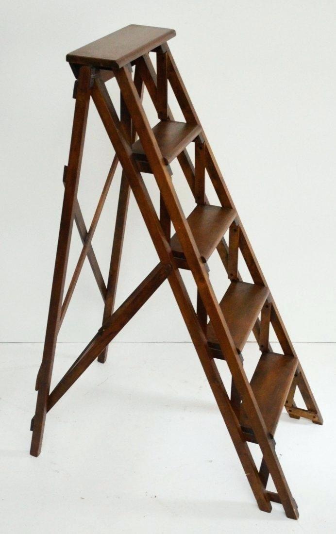 Fabulous Library Step Ladder Vintage Wooden Folding Wood Ladders Beatyapartments Chair Design Images Beatyapartmentscom