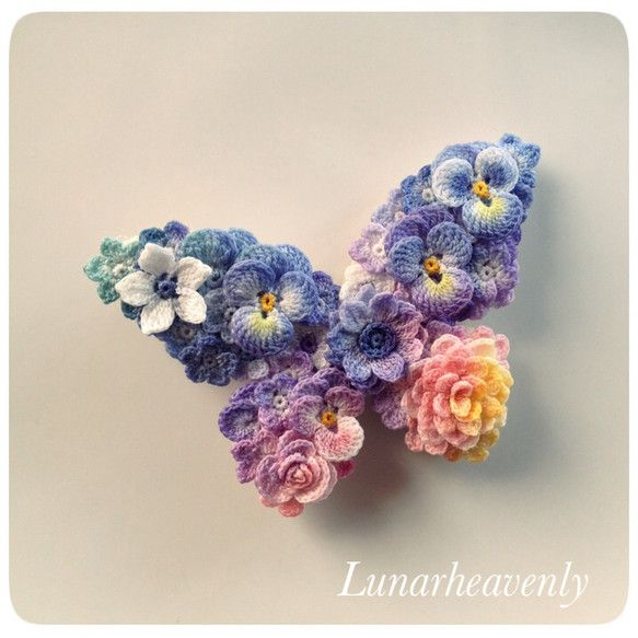 Absolutely beautiful miniature flower butterfly pin }}{{  ♥LCM-MRS♥ thin yarn, thin needle with a big dose of patience will do the work. ♥♥♥♥♥ 蝶々のストールピン レース編み
