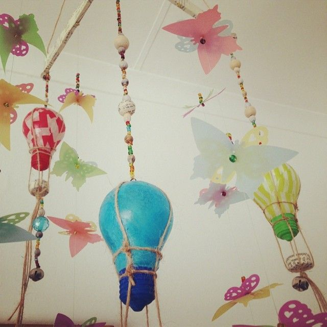 "1 Likes, 1 Comments - KoTie van Wyk (@jackoutofthebox13) on Instagram: ""Hot air balloon mobile I made #repurpose #mypaperfetish"""