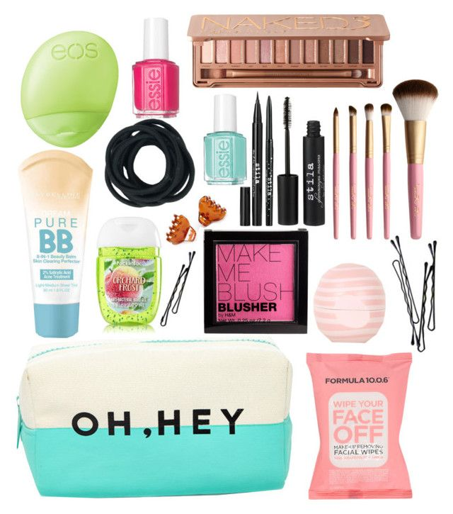"""What's in my makeup bag"" by nazzbelle ❤ liked on Polyvore featuring beauty, H&M, BOBBY, Maybelline, Formula 10.0.6, Forever 21, Stila, Too Faced Cosmetics, Topshop and Essie"