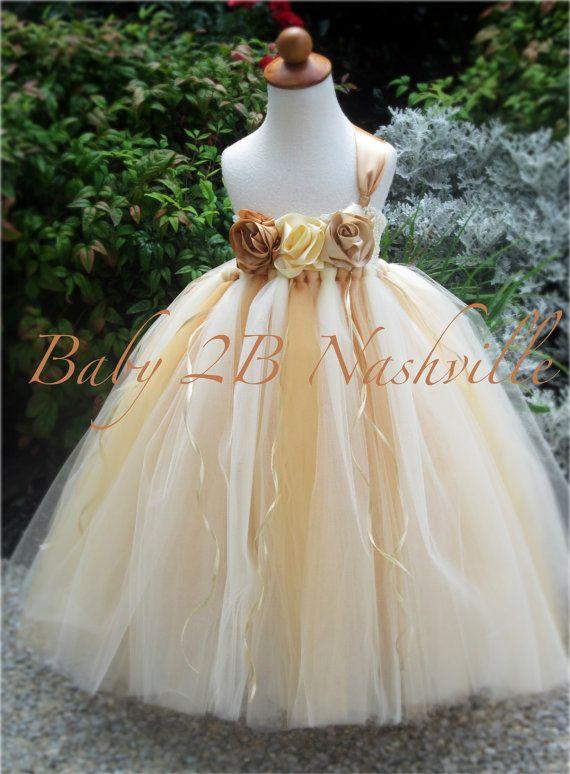 Champagne Flower Girl Dress Wedding Flower by Baby2BNashville