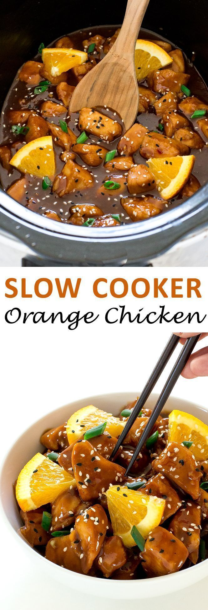 Super Easy Slow Cooker Orange Chicken. So much better and healthier than takeout! | chefsavvy.com #recipe #slow #cooker #orange #chicken #crockpot