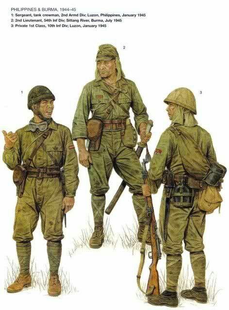 Esercito Imperiale Nipponico - 1 Sergente carrista, 2nd Divisione Corazzata, Luzon 1944-45 - Sottotenente, 54th Divisione di fanteria, fiume Sittang, Burma, 1945 - 3 Soldato della 100a Divisione di Fanteria, Luzon 1945.