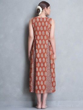 Madder Block Printed Pleated Cotton Dress by Jaypore