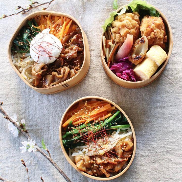 Today's lunch 2017.01.13 ・ ・ ビビンパ エビカツ 卵焼き 紫キャベツマリネ 竹輪の甘辛炒め 金平牛蒡 茗荷の甘酢漬け ・ ・ 娘はスープをジャーに入れて持っていくので、ビビンパのみ。 ・ 汁物があると少しはお腹がいっぱいになるようで?笑 最近はお弁当一段とスープ弁当が多いです。 ・ ・ 今朝は牛のひき肉も細切れもなかったので、豚ちゃんでお肉代用。 ・ まぁ焼肉のタレで焼いてるから同じかなぁ。。 ・ ・ 新しいカメラとどきました。 まだ使い方が慣れず ・ ・ 本見てお勉強します!! ・ ・ #healthyeating#nutritious#healthy#healthyfood#foodshare#foodporn#foodpic#photooftheday#pictureoftheday#tasty#instafood#おうちごはん#onthetable#暮らし#お昼ご飯#昼食#ランチ#lunch#あつ子弁当