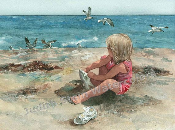 "Beach Girl in Pink Jumper, White Sandals, Seagulls, Seashells, Seashore Children Watercolor Painting Print, Wall Art, Home Decor, ""Fancy"""