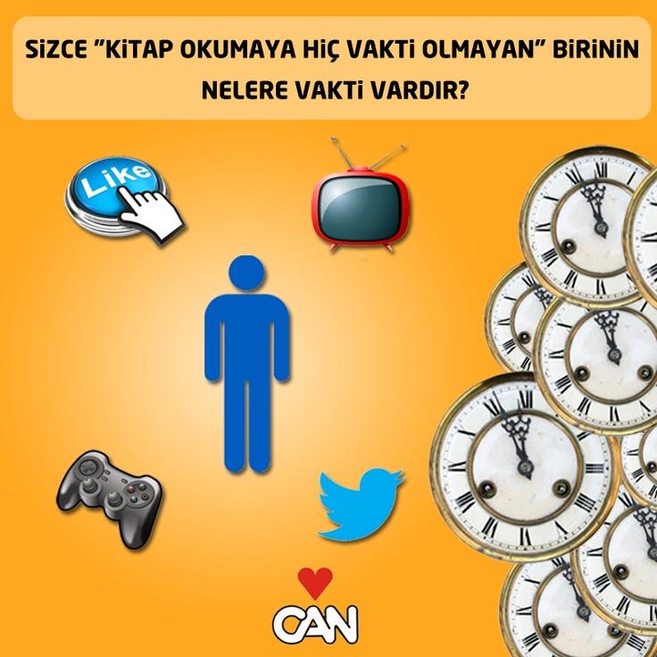 """Sizce """"kitap okumaya hiç vakti olmayan"""" birinin Facebook ya da Twitter'a, televizyon izlemeye ya da bilgisayar oyunu oynamaya vakti var mıdır? :)"""