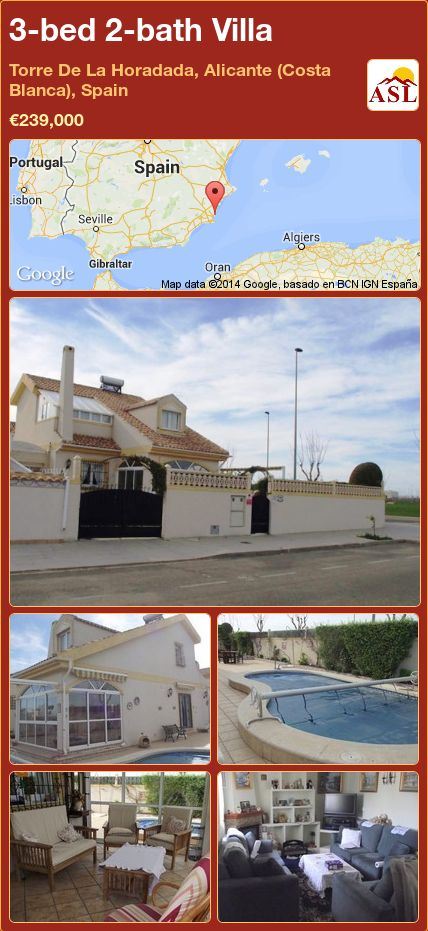 3-bed 2-bath Villa in Torre De La Horadada, Alicante (Costa Blanca), Spain ►€239,000 #PropertyForSaleInSpain