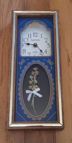 Mid-Century-Ingraham-Clock-Mantal-or-Wall-Battery-USA-Floral-Design-Blue-Wood