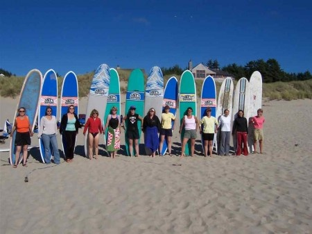 Surging Retret.  The Northwest Women's Surfing Camp is a great get-a-way.   Women of all ages and abilities are welcome, and you and your girlfriends will surely enjoy the organic food, sweet lodging, morning yoga, and tantrum-free environment