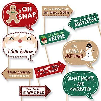 Funny Christmas - Christmas 10 Piece Photo Booth Props Kit | BigDotOfHappiness.com
