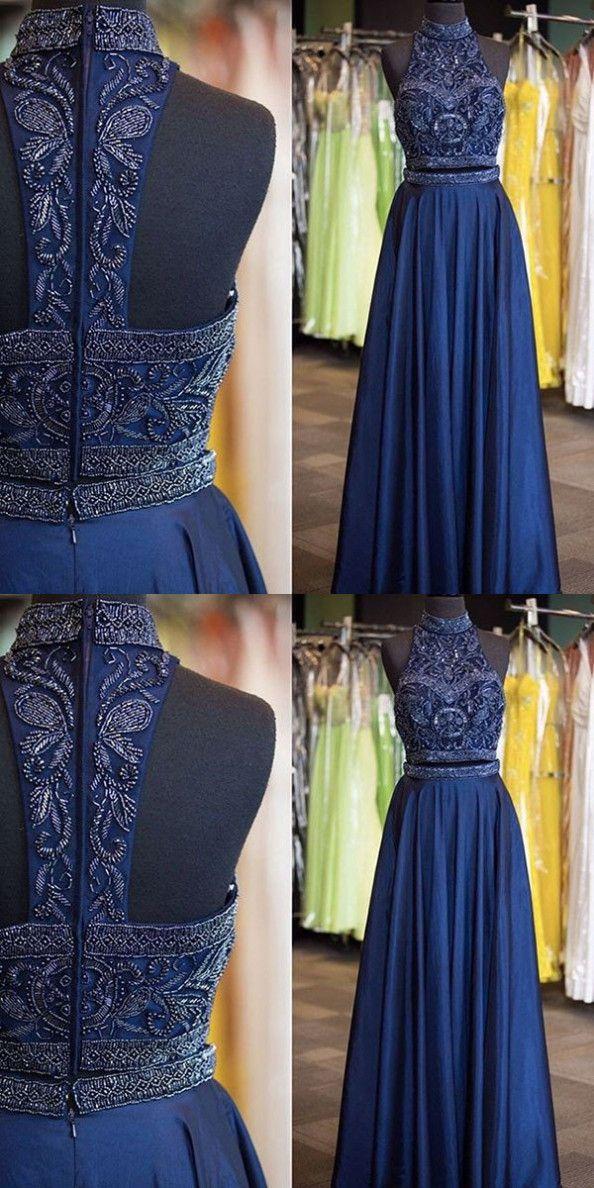 Navy Blue Beading High Neck A-line Prom Dresses evening dresses #promdress #promdresses #promgown #promgowns #long #navyblueprom #modestpromdress #chiffon