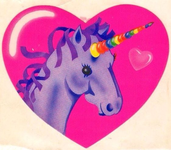 Lisa Frank Glossy Vintage 80's Pink Heart Unicorn Sticker Mod