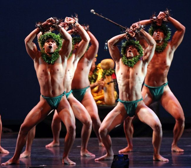 "The Ka Leo O Laka I Ka Hikina O Ka La company with ""Hula Kane: The Ancient Art of Hawaiian Male Dance,"""