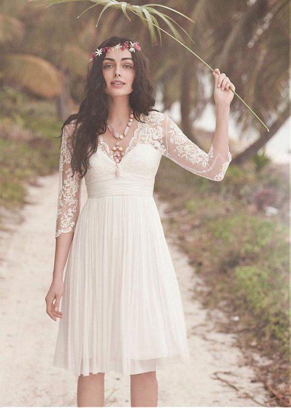 Charming A-line V Neck 3/4 Length Sleeve Short Chiffon Wedding Dress