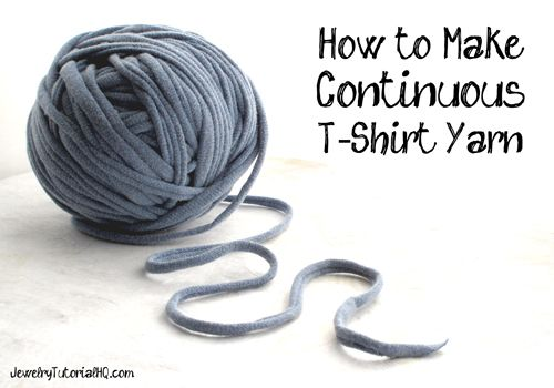 "How to Make Continuous T-Shirt Yarn {Video} T-shirt yarn, also known as ""tarn"", is a great eco-friendly product that is perfect for lots of DIY craft projects including rag rugs, scarves, or fun woven bracelets."
