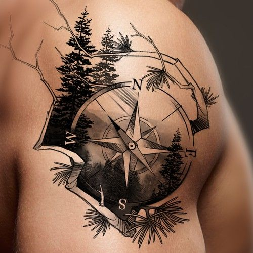 Image result for compass nature tattoo