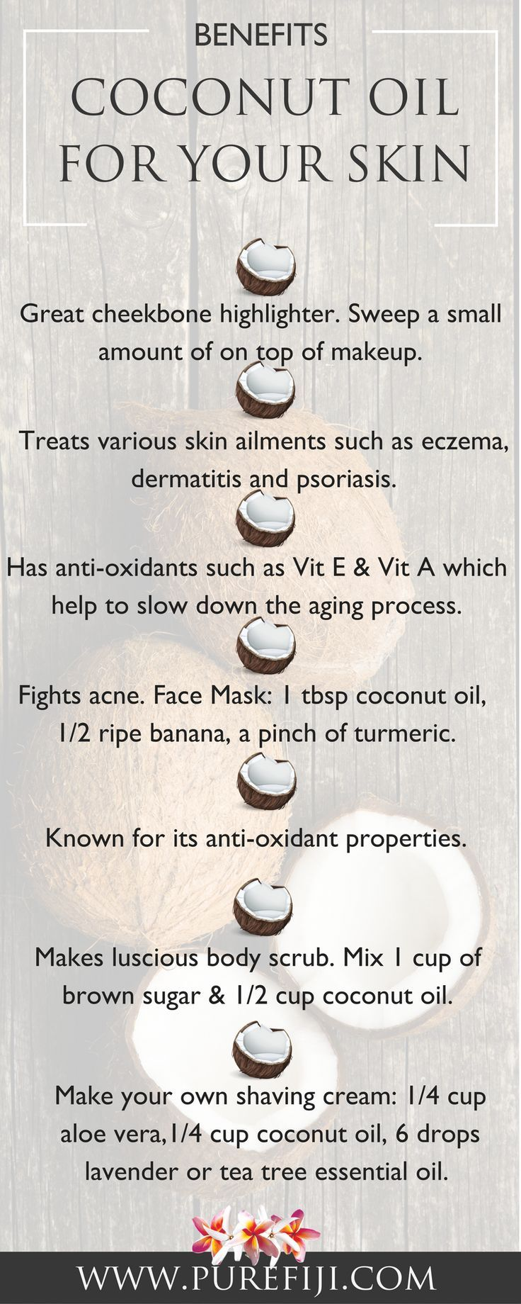 Find here how to use coconut oil for beautiful glowing skin and shiny hair. Get yourself some coconut oil and bring your skin back to its natural beauty at http://www.purefiji.com/blog/benefits-coconut-oil/