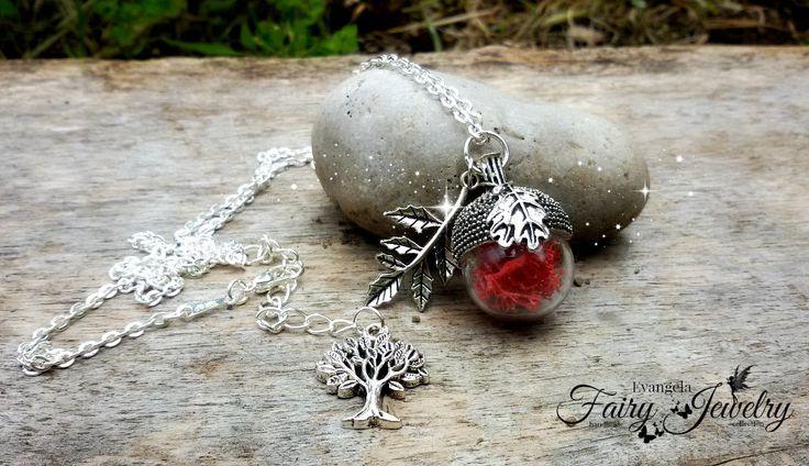 Collana ghianda licheni naturali vetro soffiato , by Evangela Fairy Jewelry, 14,00 € su misshobby.com