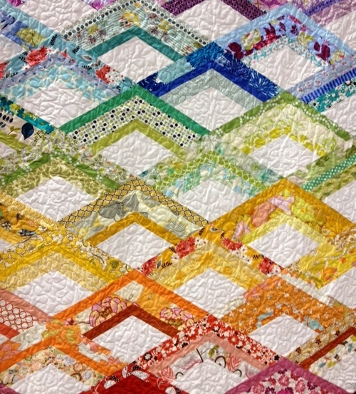 """Rainbow quilt/ this pattern is in """"Modern Patchwork"""" by Elizabeth Hartman. Her blog is called Oh Fransson"""
