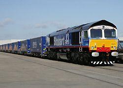 Eddie Stobart freight train delivering for Tesco