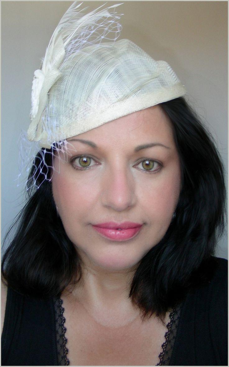 Bibi - Chapeau - Ecru - Sisal, voilette et plumes - Mariages, cérémonies, Cocktails... : Chapeau, bonnet par ladyplazza
