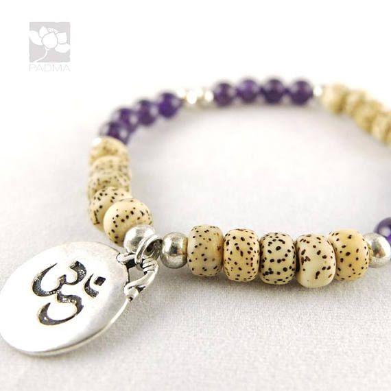 white lotus Bodhi Seeds / 'Om' Charm / Prayer beads