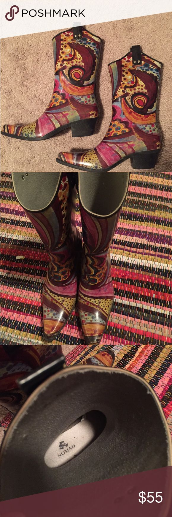 Nomad Heeled Cowboy Rain Boots Size 9 These swirly patterned heeled rainboots could also double as fashionable colorful cowboy boots! Nomad Shoes Winter & Rain Boots