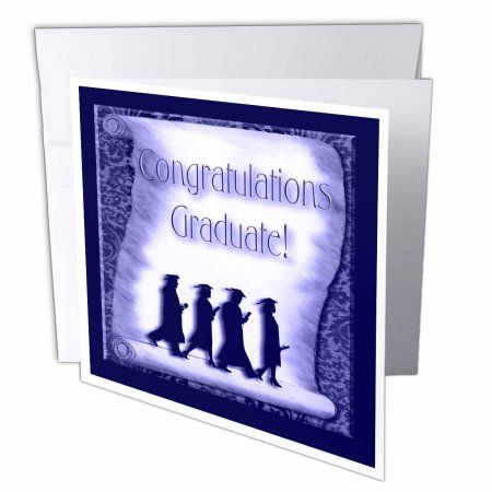 3dRose Congratulations Graduate Blue, Greeting Cards, 6 x 6 inches, set of 12