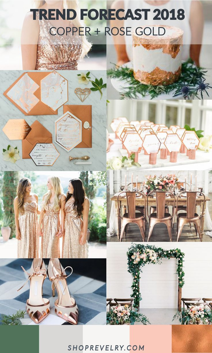 Trend Forecast 2018:Copper + Rose Gold. Metallics contrasting with natural elements such as neutrals, blushes, greenery, and stone will be on the rise through 2017 and into 2018. The updated take on metallics, adds a punch to the strong greenery trend we have seen for weddings the past year. A subtle addition to an outdoor wedding is @shoprevelry rose gold sequin tops, skirts, or dresses on bridesmaid + a rose gold heel for the bride. Revelry dress photos by Michelle Boyd.