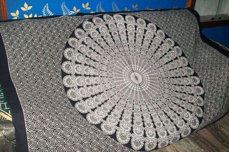 Twin Indian Tapestry Black & White MandalaTapestry Mandala Hippie Tapestry #Handmade
