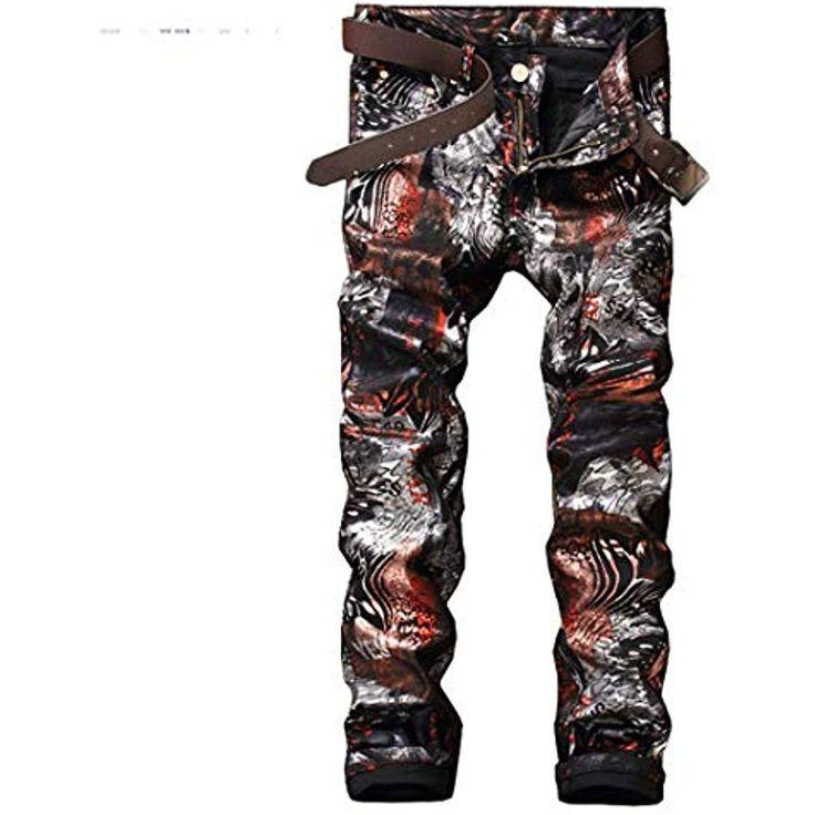 BHKDORBSC Herrenmode Slim 3D Print Shinny Coated Pants Lässige gemalte Lange Ho… – Shopping Angebote