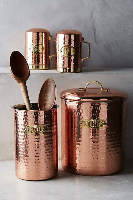 Hammered Copper Cookie Jar - anthropologie.com