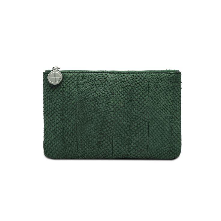 Green Inger salmon leather shoulder bag clutch 2499