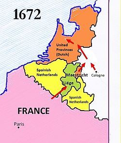The Franco-Dutch War (1672–78was a war fought by France, Sweden, the Prince-Bishopric of Münster, the Archbishopric of Cologne and England against the Dutch Republic, which was later joined by the Austrian Habsburg lands, Brandenburg and Spain to form a quadruple alliance. The war ended with the Treaty of Nijmegen of 1678, which granted France control of the Franche-Comté and some cities in Flanders and Hainaut, all formerly controlled by Spain.