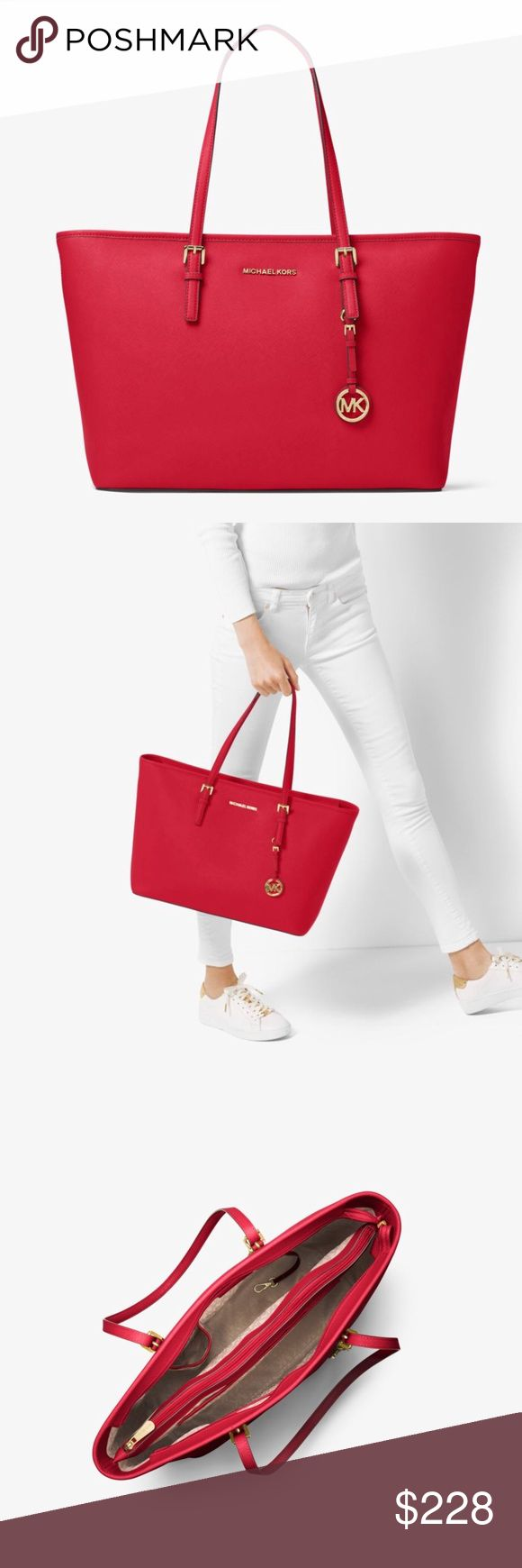 """MICHAEL KORS Jet Set Saffiano Leather Top-Zip Tote NWT MICHAEL MICHAEL KORS Jet Set Travel Medium Saffiano Leather Top-Zip Tote, NWT!  Color is Sangria which is a stunning reddish-orange.  • 100% Saffiano Leather  • Gold-Tone Hardware  • 11.5""""H X 15""""W X 5.5""""D  • Handle Drop: 8.5""""  • Interior Details: Zip Pocket, 2 Open Pockets, Center Zip Compartment  • Lining: 100% Polyester  • Top-Zip Fastening Michael Kors Bags Totes"""