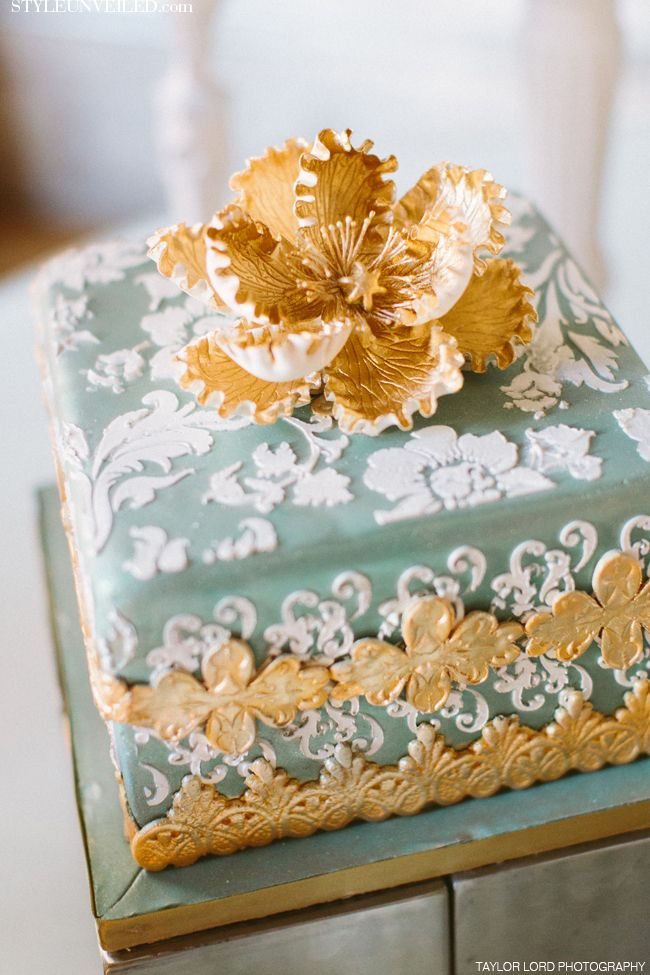 Taylor Lord Photography / Simon Lee Bakery / Liv by Design / Teal and Gold wedding cake with White detail