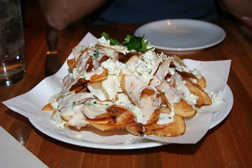 Homemade potato chips with blue cheese and truffle oil.The Best Appetizer. Wolfgang Puck Cafe. MGM Grand, Las Vegas