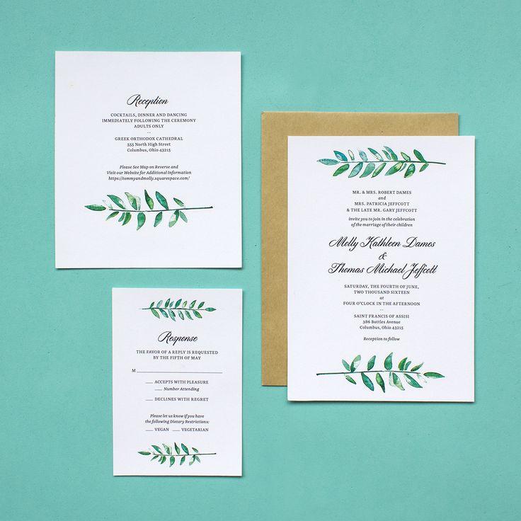 Watercolor Greenery Classic Wedding Invitation Suite