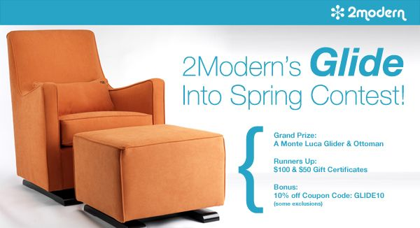 Don't forget to enter!2Modern Blog, Ottoman Just Enter, Monte Design, Lucas Gliders, Spring Contest, Modern Items, Design Group, Nurseries Ideas, Group Lucas