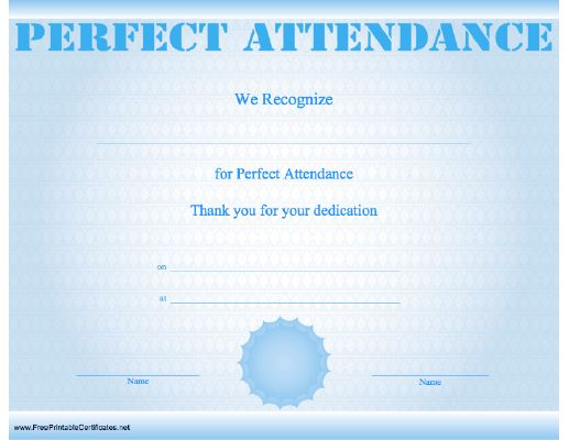 Pretty Free Perfect Attendance Certificate Template Images - Free Printable Perfect Attendance Certificate
