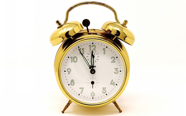 Download wallpapers golden alarm clock, time concepts, clock, time
