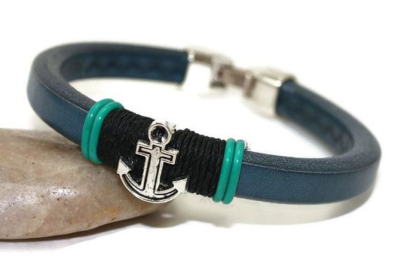 Leather bracelet mens  nautical bracelet  men by LuckyBeadsBox