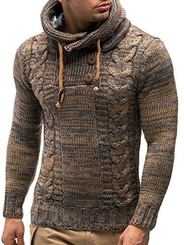 LEIF NELSON Men's Knitted Pullover Small Brown LEIF NELSON
