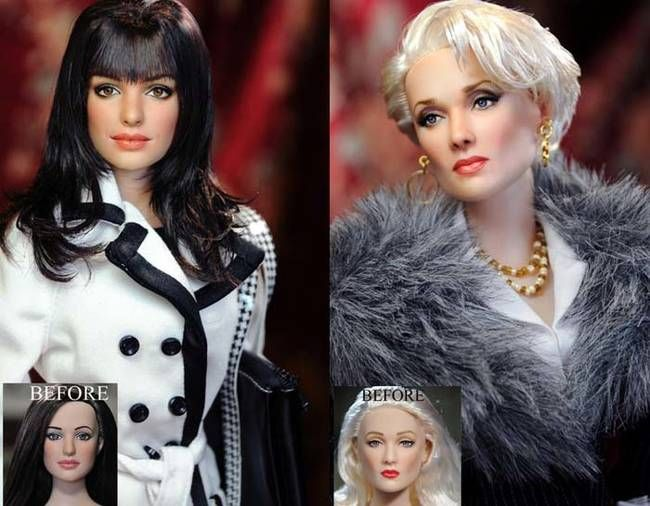 These <i>Devil Wears Prada</i> collector's items look nothing like Meryl Streep and Anne Hathaway. Artist Noel Cruz gave the dolls their actor counterpart's distinguished features.