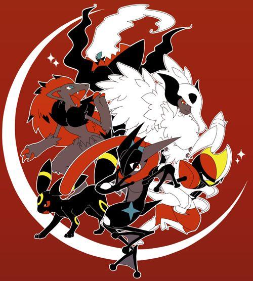 Dark Types Zoroark And Shiny Greninja Flailing Around Pokemon Pinterest