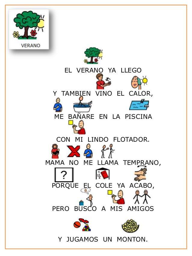 Poesia las estaciones del año con pictogramas.