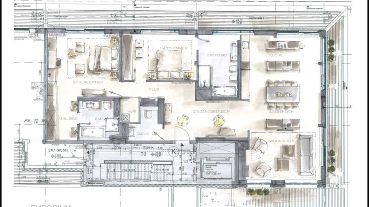 floor plan scetch for a penthouse at LUX Berlin