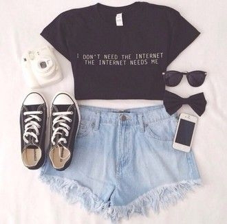 beautiful sunglasses black shirt shorts t-shirt impression14.com white black t-shirt internet jeans plain top sneakers bows converse shoes top outfit crop tops high waisted shorts tumblr hipster quote on it