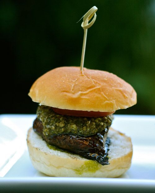 Grilled Portabella Mushroom Sliders with Pea Shoot Pesto http://www.brit.co/go-mini-for-the-big-game-menu-1-super-sliders/